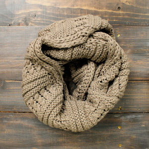 thick cozy knit infinity scarf mocha - shophearts - 1