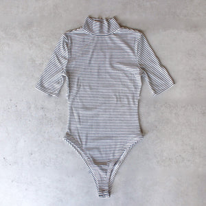 turtleneck striped ribbed bodysuit - shophearts - 1