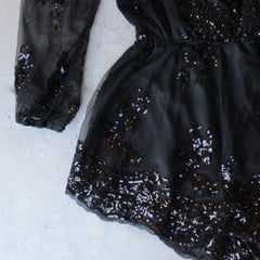 reverse - life of the party black sequin romper - shophearts - 3