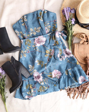 strapless floral ruffled wrapped mini dress in teal
