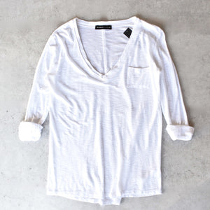 Michelle by Comune - 'Modesto' V-Neck Jersey Tee in White - shophearts - 1