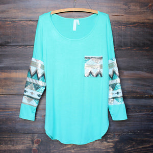 chevron sequin aztec sleeve tunic (more colors) - shophearts - 3