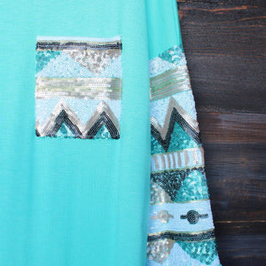 chevron sequin aztec sleeve tunic (more colors) - shophearts - 4