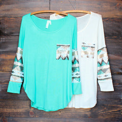 chevron sequin aztec sleeve tunic (more colors) - shophearts - 2