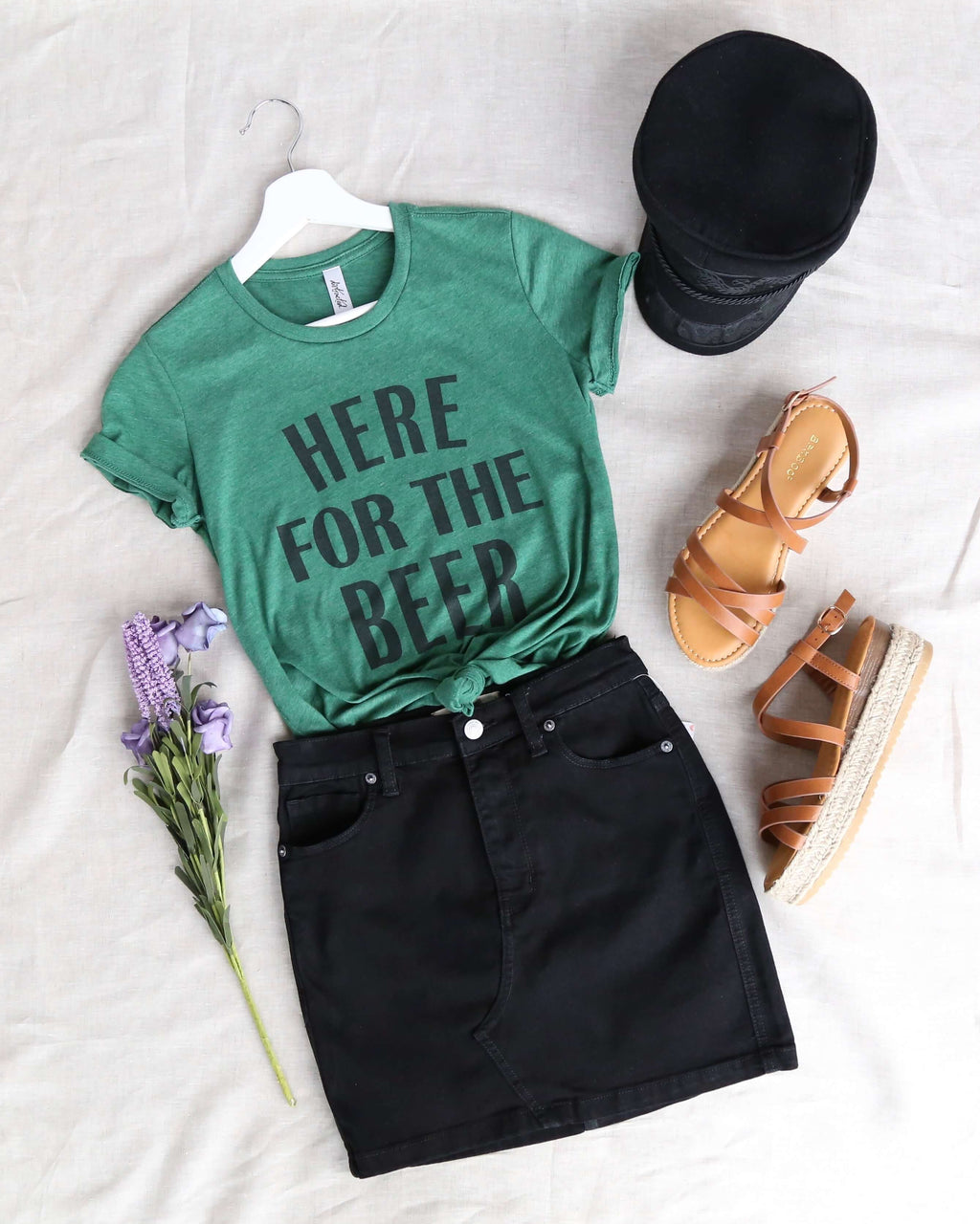 distracted - here for a good time - saint patrick's day women cotton blend tshirt - heather dark green