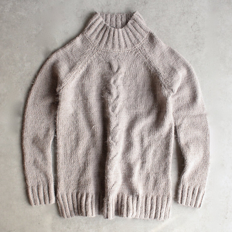 minkpink - now & then mock neck chunky knit sweater - light grey - shophearts - 1