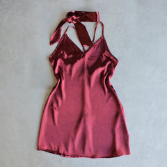reverse - choker slip dress - maroon - shophearts - 1