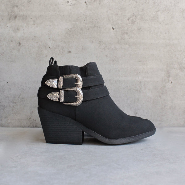 nubuck wedge bootie - black - shophearts - 1