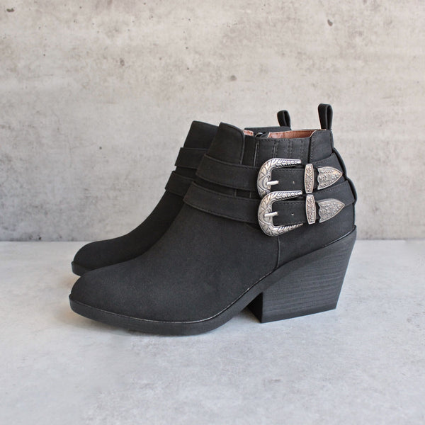 nubuck wedge bootie - black - shophearts - 2