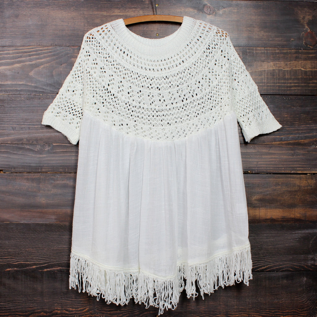 desert wanderer knit tunic in ivory - shophearts - 1