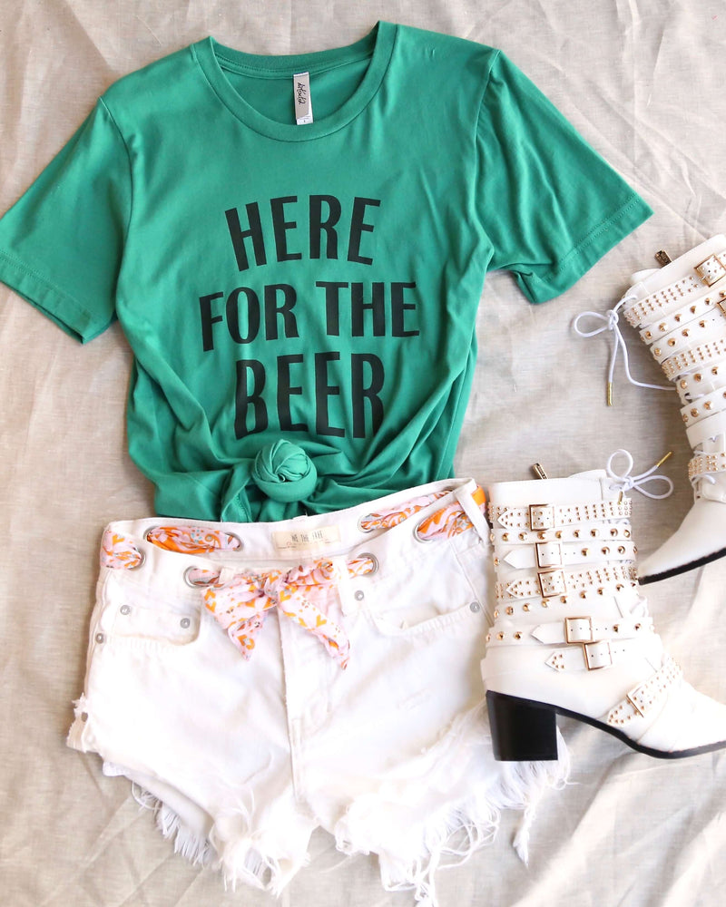 Distracted - Here for the Beer Saint Patrick's Day Women's Cotton Blend T-Shirt in Kelly Green