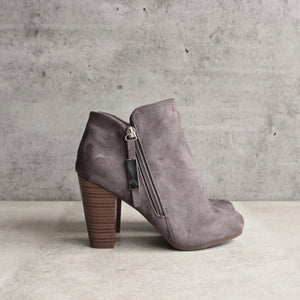 almond toe stacked heel vegan suede booties - grey - shophearts - 4