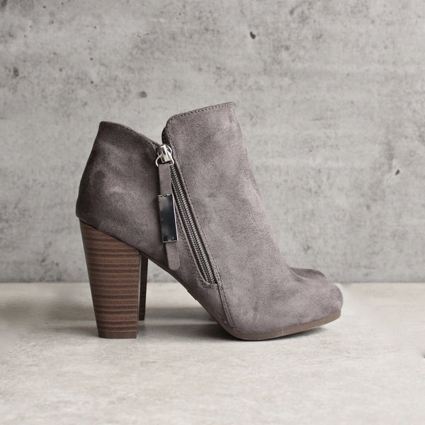almond toe stacked heel vegan suede booties - grey - shophearts - 1