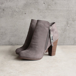 almond toe stacked heel vegan suede booties - grey - shophearts - 2