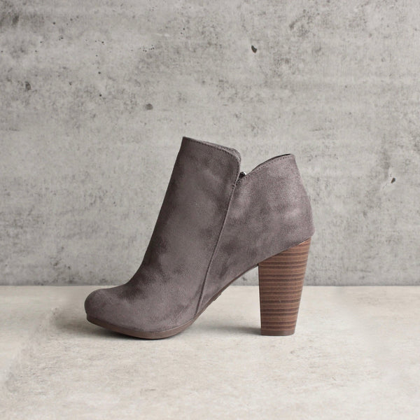 almond toe stacked heel vegan suede booties - grey - shophearts - 3