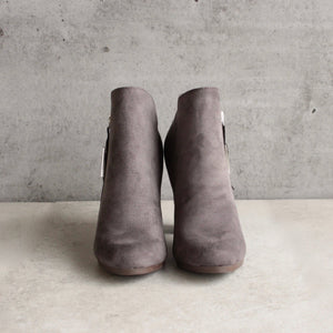 almond toe stacked heel vegan suede booties - grey - shophearts - 6