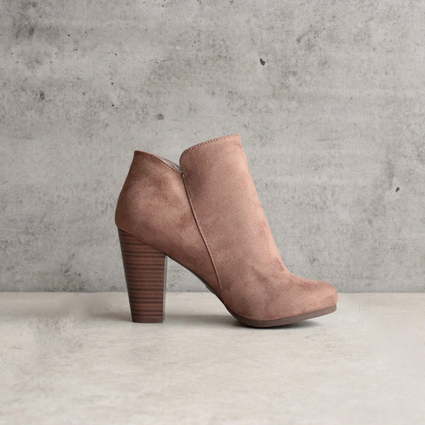 almond toe stacked heel vegan suede booties - taupe - shophearts - 3