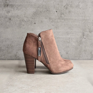 almond toe stacked heel vegan suede booties - taupe - shophearts - 4