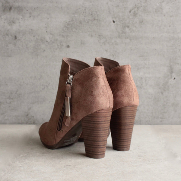 almond toe stacked heel vegan suede booties - taupe - shophearts - 2
