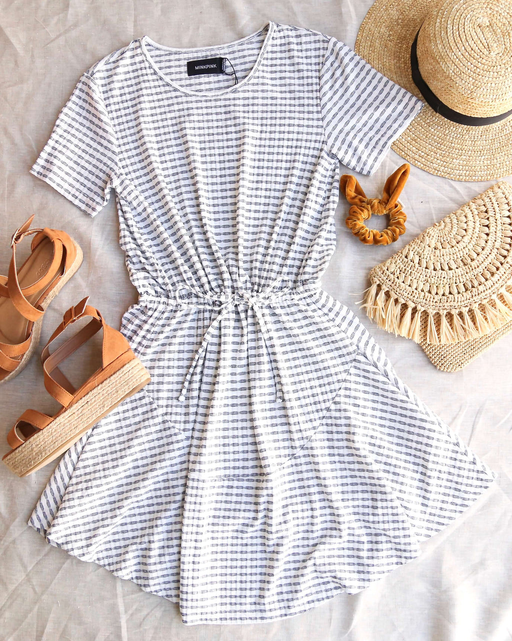 Final Sale - MINKPINK - River Skater Dress in White/Navy Stripes
