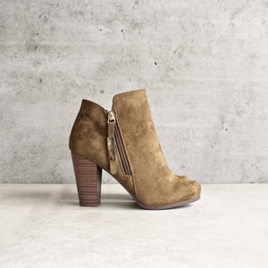 almond toe stacked heel vegan suede booties - olive - shophearts - 1