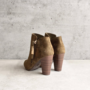 almond toe stacked heel vegan suede booties - olive - shophearts - 2