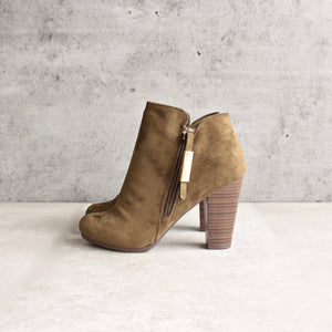 almond toe stacked heel vegan suede booties - olive - shophearts - 3