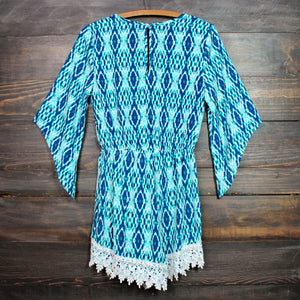 FINAL SALE - blue diamond crochet lace romper - shophearts - 2
