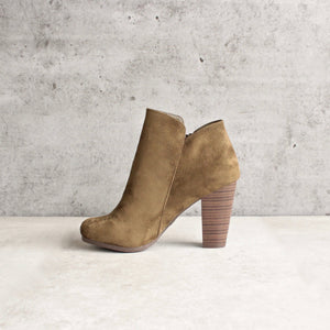 almond toe stacked heel vegan suede booties - olive - shophearts - 4