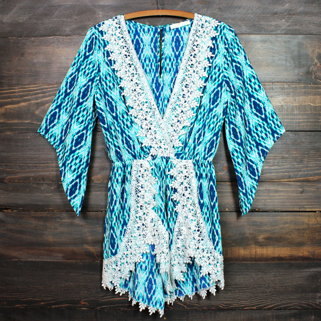 FINAL SALE - blue diamond crochet lace romper - shophearts - 1