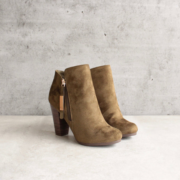 almond toe stacked heel vegan suede booties - olive - shophearts - 5