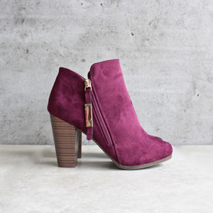 almond toe stacked heel vegan suede booties - shophearts - 1