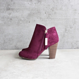almond toe stacked heel vegan suede booties - shophearts - 3