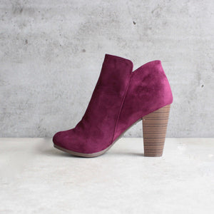 almond toe stacked heel vegan suede booties - shophearts - 4