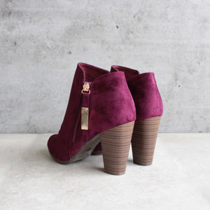 almond toe stacked heel vegan suede booties - shophearts - 5