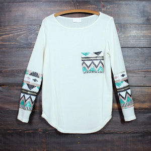 chevron sequin aztec sleeve tunic (more colors) - shophearts - 5