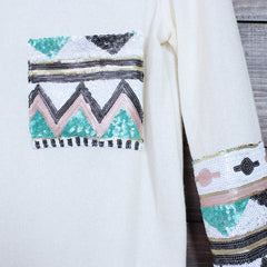 chevron sequin aztec sleeve tunic (more colors) - shophearts - 6