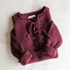 all tied up lace-up front sweater - burgundy - shophearts - 1