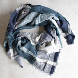 oversize plaid blanket scarf - blue - shophearts - 1