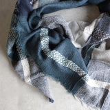 oversize plaid blanket scarf - blue - shophearts - 2