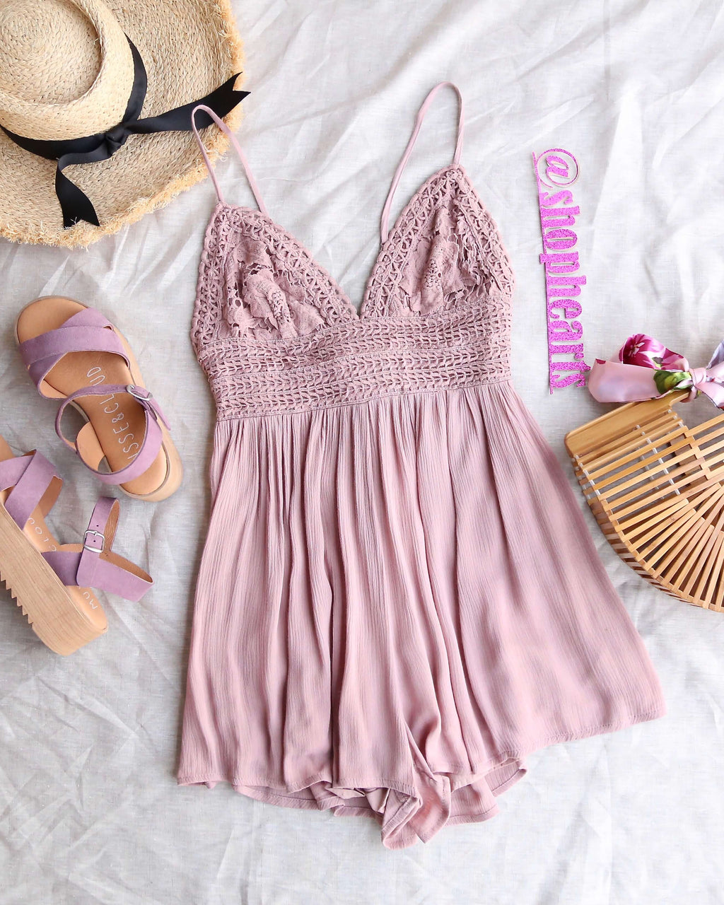 Solid Lace Inset Romper in Silver Rose