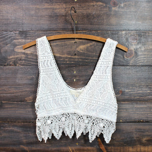 pointelle festival crochet crop top in natural - shophearts - 1