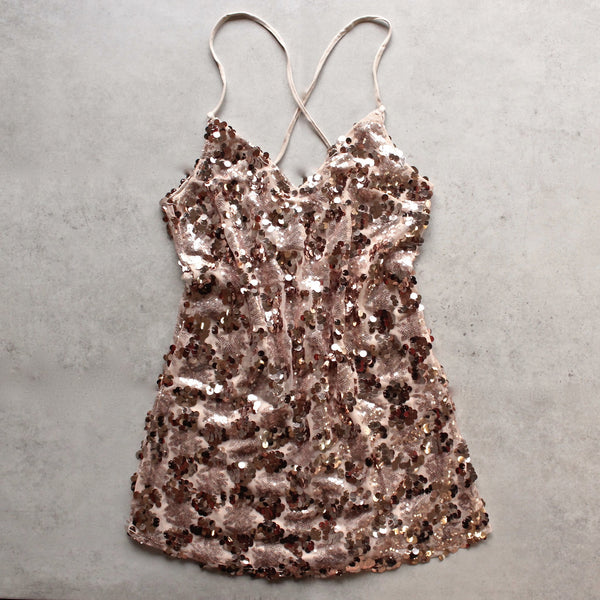 set the tone sequin disc mini dress - rose gold - shophearts - 1