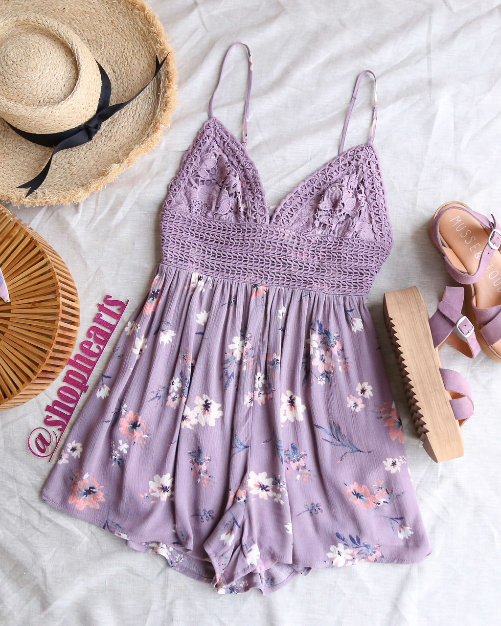 Floral Lace Inset Romper in Light Purple