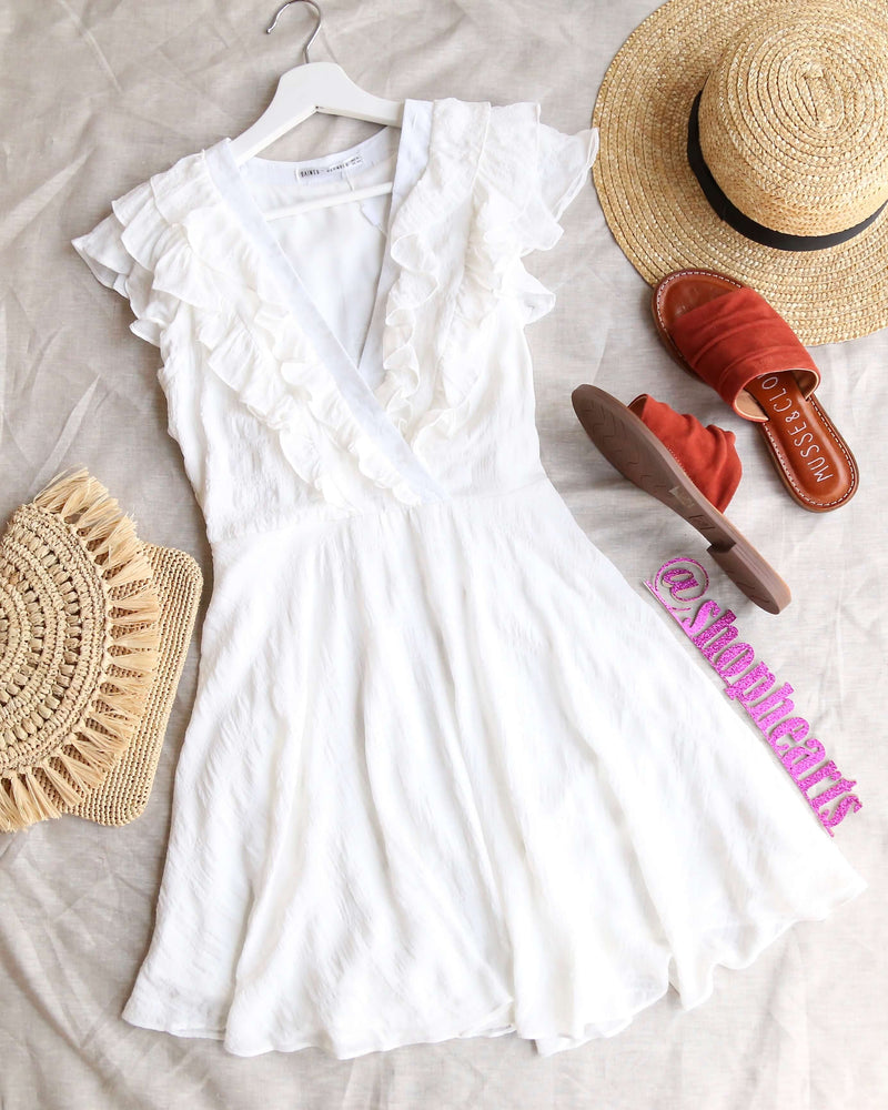 v neck ruffled top mini dress in snow white