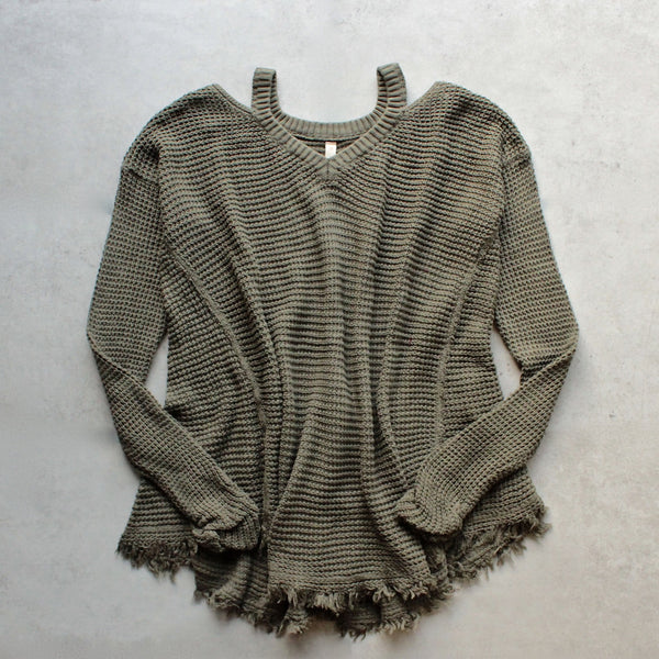 oversize thermal sweater with cold shoulder - olive - shophearts - 1