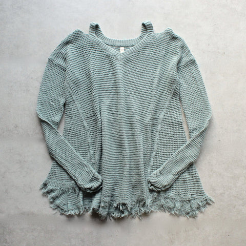 oversize thermal sweater with cold shoulder - dusty aqua - shophearts - 1