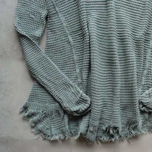 oversize thermal sweater with cold shoulder - dusty aqua - shophearts - 3
