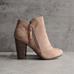 almond toe stacked heel vegan suede booties - natural - shophearts - 2