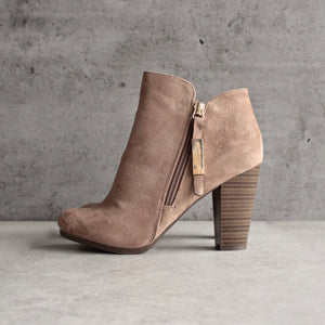almond toe stacked heel vegan suede booties - natural - shophearts - 5